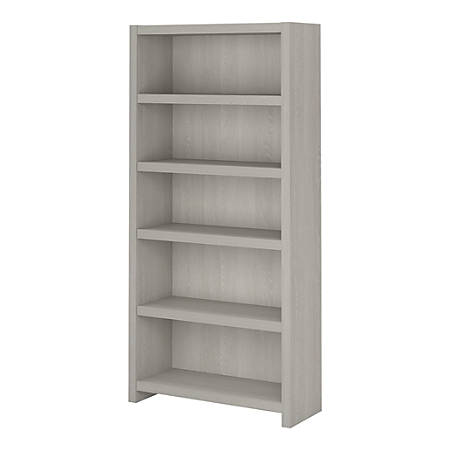 kathy ireland® Office by Bush Business Furniture Echo 5 Shelf Bookcase, Gray Sand, Standard Delivery
