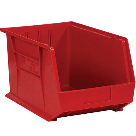 """Office Depot® Brand Plastic Stack And Hang Bin Boxes, 10 3/4"""" x 8 1/4"""" x 7"""", Red, Pack Of 6"""
