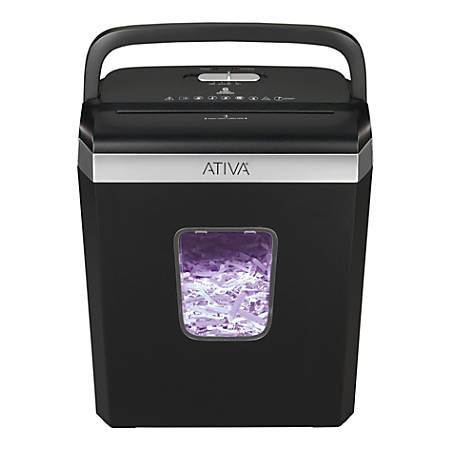 Ativa® 6-Sheet Cross-Cut Shredder, Black, A06CC19