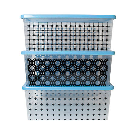 "Office Depot® Brand In-Mold Label Plastic Storage Boxes, 16 3/4"" x 11"" x 6 1/2"", Geometric Design, Pack Of 3"