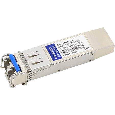 AddOn IBM 45W1193 Compatible TAA Compliant 10GBase-LR SFP+ Transceiver (SMF, 1310nm, 10km, LC, DOM) - 100% compatible and guaranteed to work