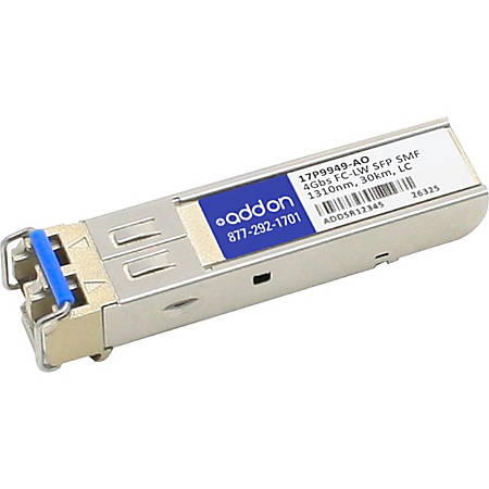 AddOn IBM 17P9949 Compatible TAA Compliant 4Gbs Fibre Channel LW SFP Transceiver (SMF, 1310nm, 30km, LC) - 100% compatible and guaranteed to work