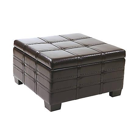 Excellent Office Star Ave Six Bonded Leather Detour Strap Storage Ottoman Espresso Item 932466 Beatyapartments Chair Design Images Beatyapartmentscom