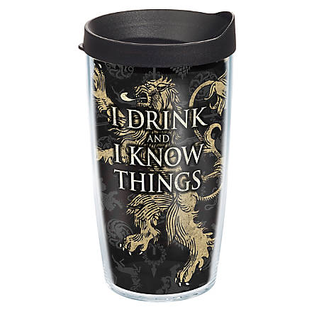 Tervis Game Of Thrones Tumbler With Lid, House Lannister, 16 Oz, Clear