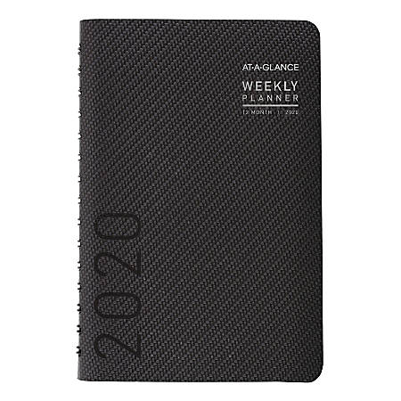 """AT-A-GLANCE® Contemporary Weekly/Monthly Planner, 5-1/2"""" x 8-1/2"""", Graphite, January To December 2020, 70100X45"""