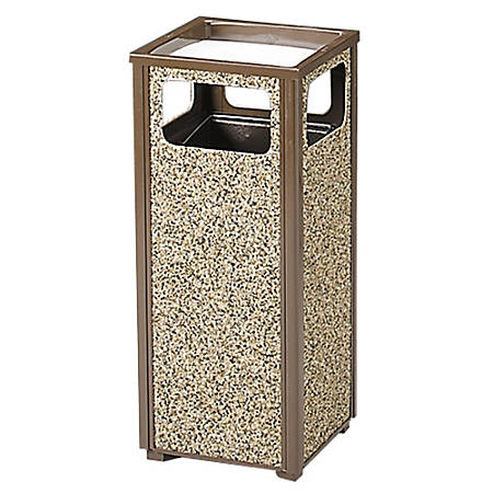 "United Receptacle Sand Urn Litter Receptacle, 32""H x 13 1/2""W x 13 1/2""D, 12-Gallon, Brown"