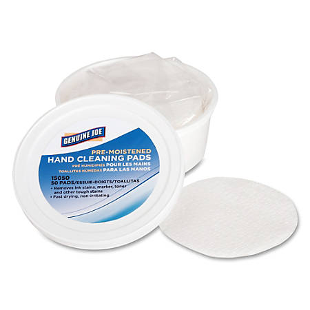 "Genuine Joe Pre-moistened Hand Cleaning Pads - 3"" Roll Diameter - White - Quick Drying, Pre-moistened, Non-irritating - For Multi Surface - 50 Quantity Per Pack - 72 / Carton"
