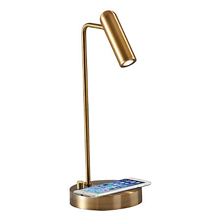 "Adesso® Kaye Wireless Charging Desk Lamp, 16-1/2""H, Brass Shade/Brass Base"
