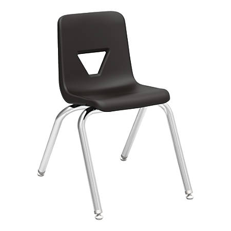 """Lorell® Classroom Student Stack Chairs, 16""""H Seat, Black/Silver, Set Of 4"""