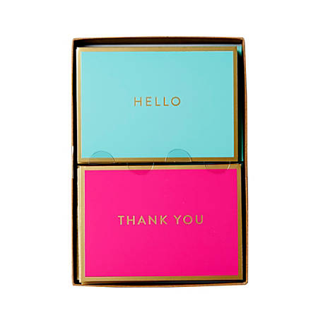 """Sincerely A Collection by C.R. Gibson® Double-Pack Note Cards With Envelopes, 4 7/8"""" x 3 1/2"""", Pink/Turquoise, Box Of 16"""