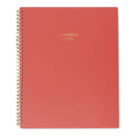 """Cambridge® Color Bar Weekly/Monthly Planner, 8-1/2"""" x 11"""", Red, January To December 2020, 1123-905-13"""