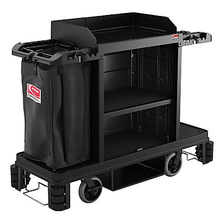 "Suncast Commercial Housekeeping Cart, Premium, 49-3/4"" x 24"", Black"