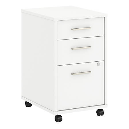 kathy ireland® Office by Bush Business Furniture Method 3 Drawer Mobile File Cabinet, White, Standard Delivery