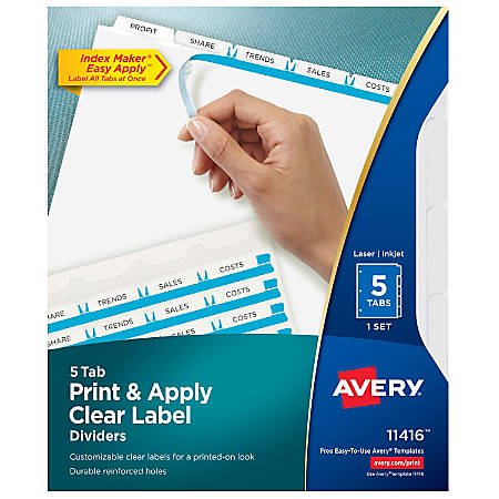 Avery® Print & Apply Clear Label Dividers With Index Maker® Easy Apply™ Printable Label Strip And White Tabs, 5-Tab