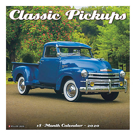 "Willow Creek Press Hobbies Monthly Wall Calendar, 12"" x 12"", Classic Pickups, January To December 2020"