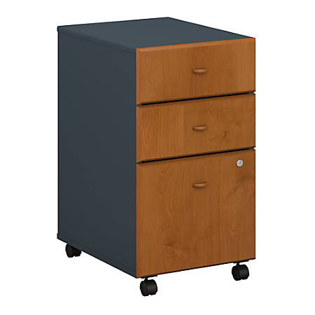 Bush Business Furniture Office Advantage 3 Drawer Mobile File Cabinet, Natural Cherry/Slate, Standard Delivery