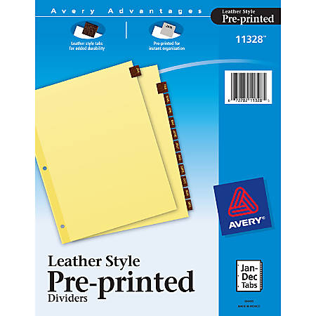Avery® Red 30% Recycled Leather Preprinted Tab Dividers, Monthly