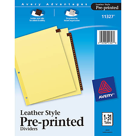 Avery® Red 30% Recycled Leather Preprinted Tab Dividers, 1-31
