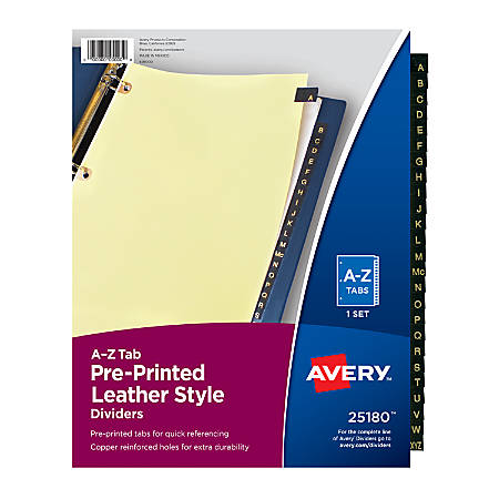 Avery® 30% Recycled Copper-Reinforced Leather Style Tab Dividers, A-Z