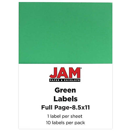 "JAM Paper® Full-Page Mailing And Shipping Labels, 337628607, 8 1/2"" x 11"", Lime Green, Pack Of 10"