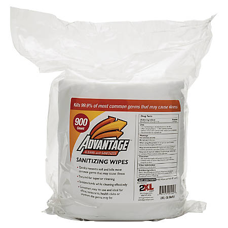 "2XL Advantage Sanitizing Wipes Refill, 6"" x 8"", Pack Of 900"