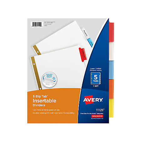 Avery® Big Tab™ Insertable Dividers, Gold Reinforced, White/Multicolor, 5-Tab
