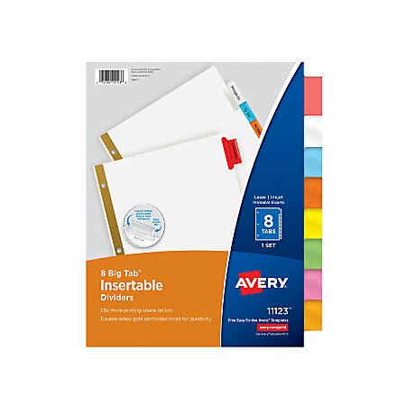 Avery® Big Tab™ Insertable Dividers, Gold Reinforced, White/Multicolor, 8-Tab