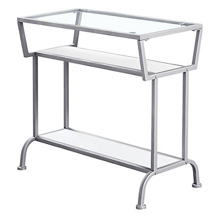 """Monarch Specialties Kelsey Accent Table, 22""""H x 24""""W x 12""""D, White/Silver"""