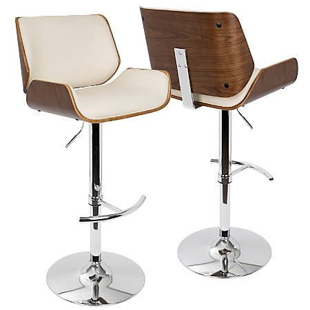 Lumisource Santi Bar Stool, Walnut/Cream/Chrome