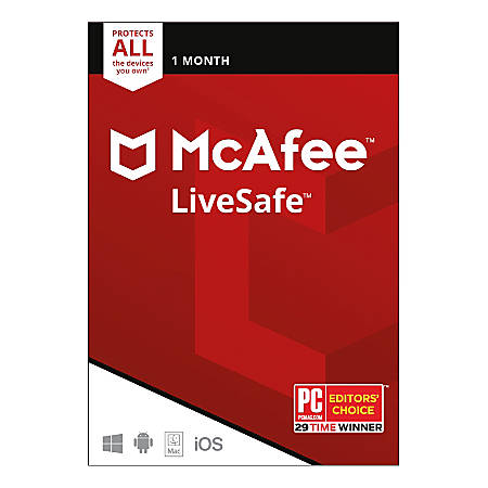 McAfee® LiveSafe™, Unlimited Devices, For PC/Mac/iOS/Android, 1-Month Subscription, Download