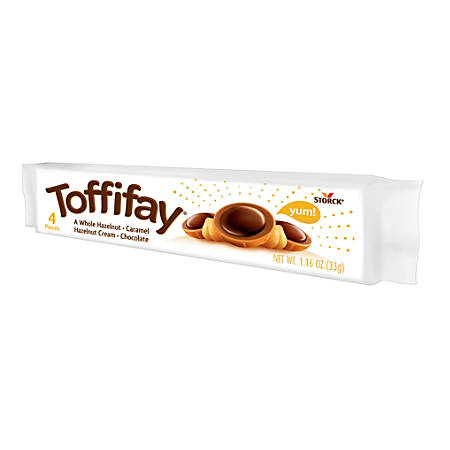 Toffifay Hazelnut Chocolate Caramel Candies, 1.16 Oz, Pack Of 4 Pieces