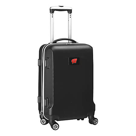 """Denco Sports Luggage Rolling Carry-On Hard Case, 20"""" x 9"""" x 13 1/2"""", Black, Wisconsin Badgers"""