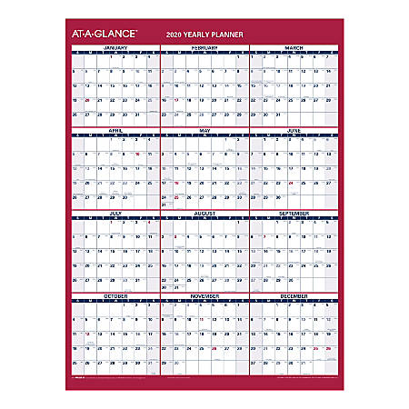 """AT-A-GLANCE® Yearly Reversible Erasable Wall Calendar, 12"""" x 15-11/16"""", Blue/Red, January To December 2020, PM330B28"""