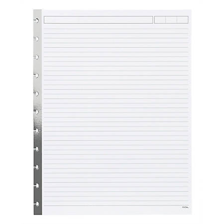 """TUL® Custom Note-Taking Reinforced Metallic Edge Refill Pages, Limited Edition, Silver, 8-1/2"""" x 11"""", Narrow Ruled, 100 Pages (50 Sheets)"""