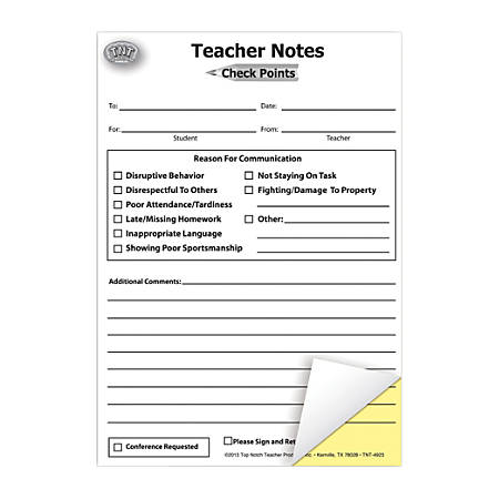 "Top Notch® Check Points Carbonless Teacher Notes, 5 1/2"" x 7 1/2"", 50 Sheets, Pack Of 6"