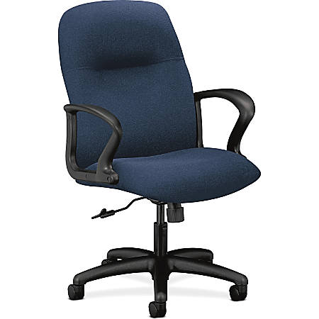 """HON Gamut Mid-Back Task Chair, Navy - Polyester Navy Seat - Polyester Navy Back - Black Frame - 5-star Base - 20"""" Seat Width x 17"""" Seat Depth - 27.5"""" Width x 36.3"""" Depth x 42"""" Height"""