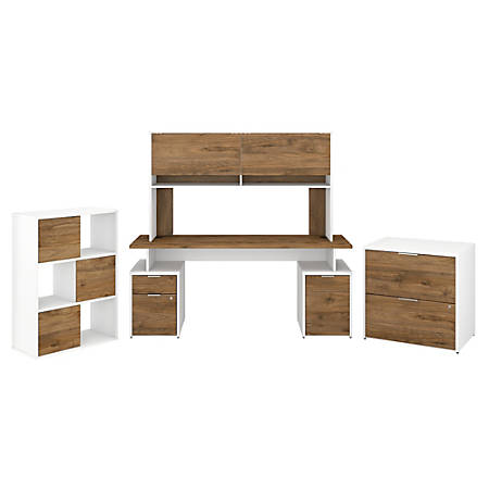 """Bush Business Furniture Jamestown 72""""W Desk With Hutch, File Cabinets And 6-Cube Organizer, Fresh Walnut/White, Standard Delivery"""