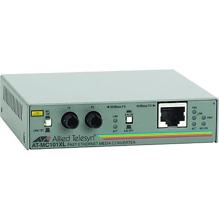 Allied Telesis AT-MC101XL-90 Fast Ethernet Media Converter - 1 x RJ-45 , 1 x ST Duplex - 100Base-TX, 100Base-FX - Wall-mountable
