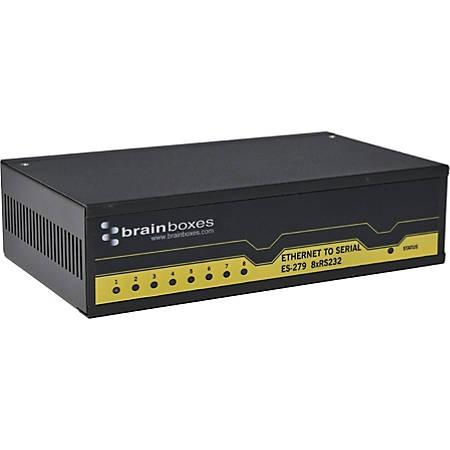 Brainboxes ES-279 - Device server - 8 ports - 100Mb LAN, RS-232 - DC power