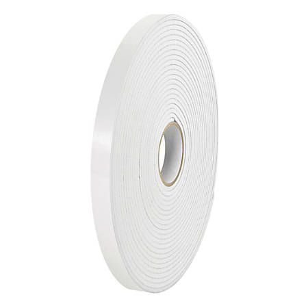 "Tape Logic Removable Double-Sided Foam Tape, 1/2"" x 36 Yd., White, Case Of 24 Rolls"