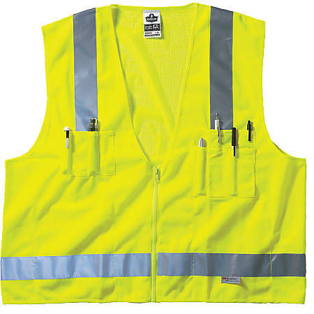 GloWear 8250Z Class 2 Surveyor Vests, L/XL, Lime