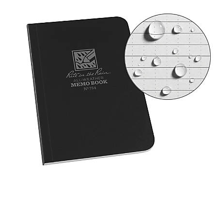 """Rite in the Rain Field-Flex Memo Notebook, 4 1/2"""" x 5"""", Universal Ruled, 112 Pages (56 Sheets), Black"""