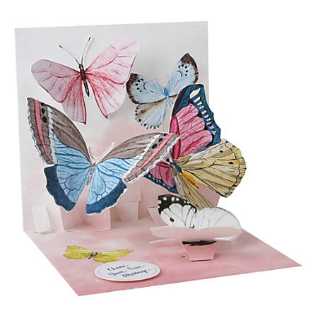 "Up With Paper Everyday Pop-Up Greeting Card, 5-1/4"" x 5-1/4"", Watercolor Butterflies"
