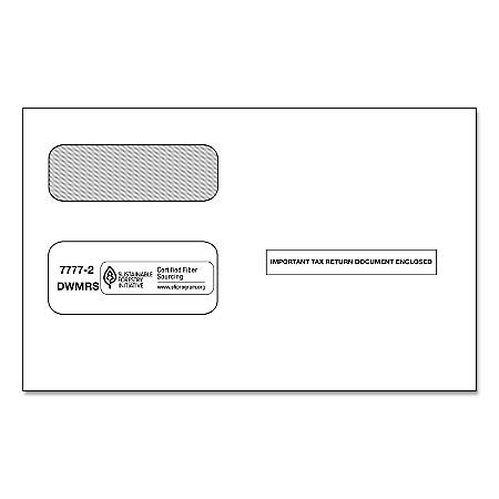 """ComplyRight™ Double-Window Envelopes For 1099 Laser and Continuous Forms, 9"""" x 5 5/8"""", White, Pack of 50 Envelopes"""