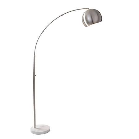 "Adesso® Astoria Arc Floor Lamp, 78""H, Steel Shade/White Marble Base"