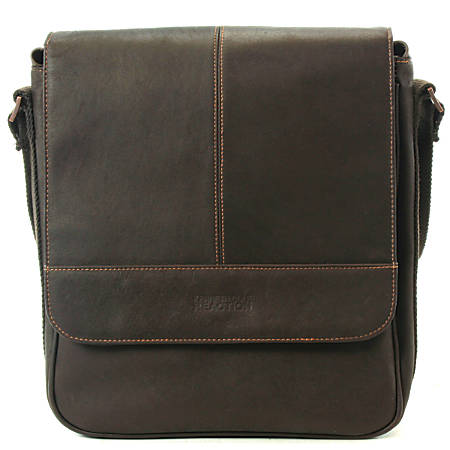 "Kenneth Cole Reaction Leather Tablet Messenger Bag, 10 1/2"" x 11 1/2"" x 3"", Brown"