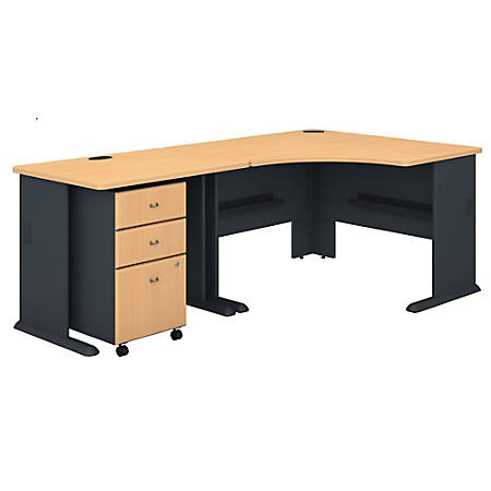 "Bush Business Furniture Office Advantage 48""W Corner Desk With 36""W Return And Mobile File Cabinet, Beech/Slate, Standard Delivery"