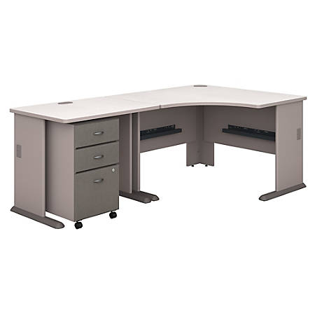 """Bush Business Furniture Office Advantage 48""""W Corner Desk With 36""""W Return And Mobile File Cabinet, Pewter/White Spectrum, Standard Delivery"""