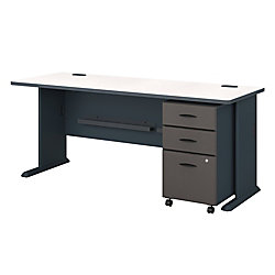 "Bush Business Furniture Office Advantage 72"" Desk With Mobile File Cabinet, Slate/White Spectrum, Standard Delivery"