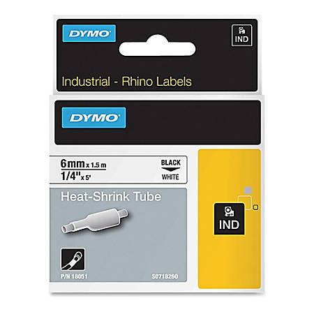 "Dymo Rhino Heat Shrink Tube Labels - 1/4"" Width x 60"" Length - Thermal Transfer - White - Polyolefin - 1 Each"